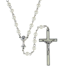 First Communion Rosary White