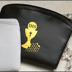 First Communion Rosary Case Black