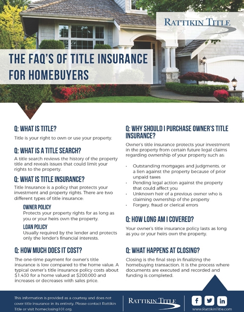 The FAQ's of Title Insurance for Homebuyers