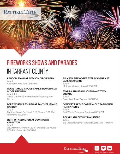 Fireworks Shows and Parades 2018
