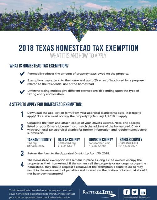 2018 Texas Homestead Tax Exemption