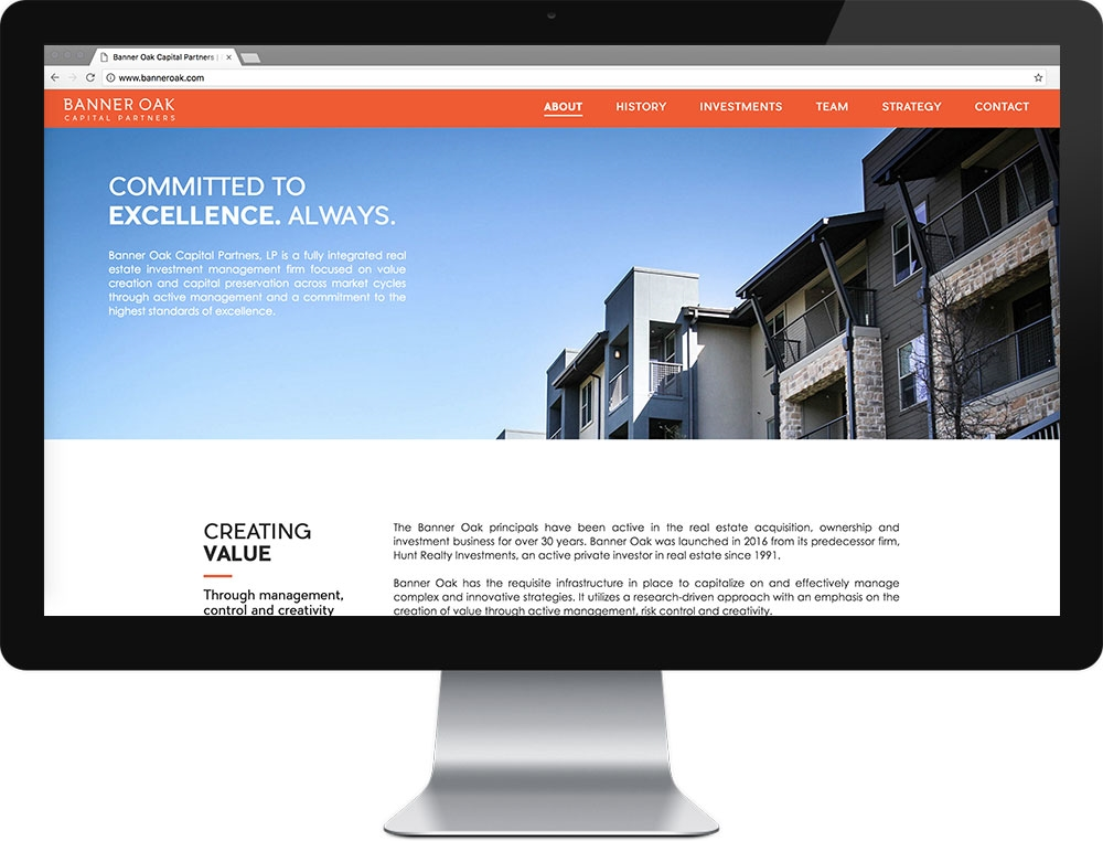 Website for Banner Oak Capital Partners